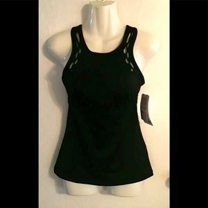 Athlete tankini top black   32/B-C bra size NWT